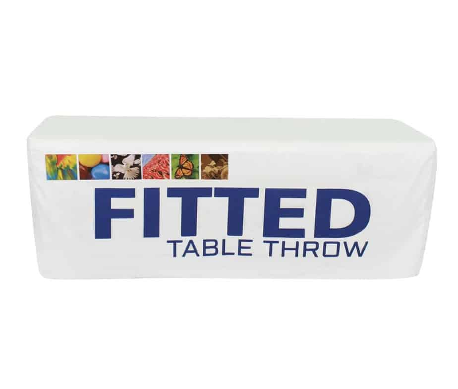 8ft fitted trade show table throw for Table th row