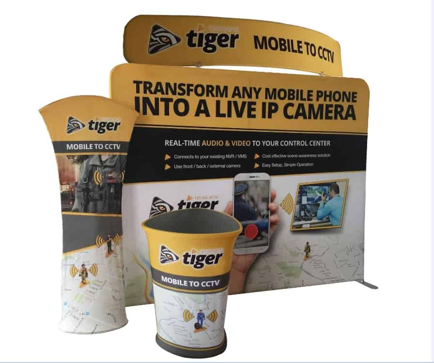 Exhibition Booth Graphics : Portable exhibition booth triangular promotion table display