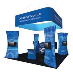 trade show display island kit fusion formulate fabric graphics portable exhibits